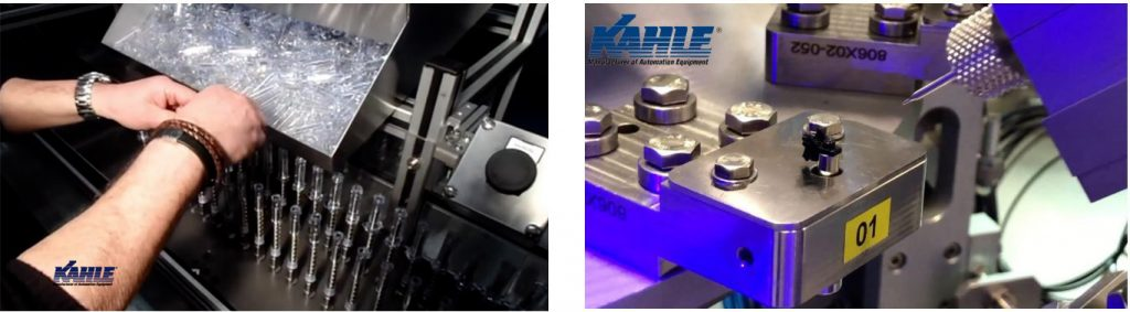 Kahle Semi Automated Safety Device Assembly Machine and Kahle Launch line for a Micro Needle Assembly